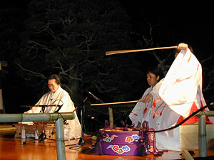 Two ancient instruments, a two-string koto and a bow drum, accompany the festival.